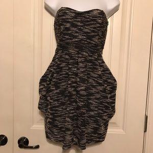 Free People strapless knit mini dress black marled